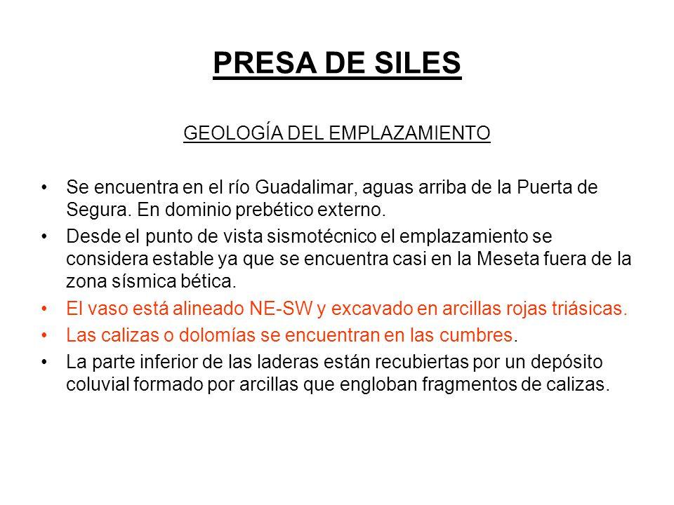 PRESA DE SILES GEOLOGÍA DEL EMPLAZAMIENTO Se encuentra en el río Guadalimar, aguas arriba de la Puerta de Segura. En dominio prebético externo. Desde