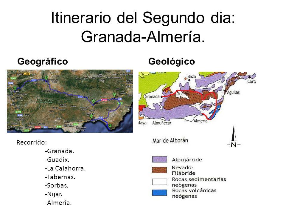 Itinerario del Segundo dia: Granada-Almería. GeográficoGeológico Recorrido: -Granada. -Guadix. -La Calahorra. -Tabernas. -Sorbas. -Nijar. -Almería.