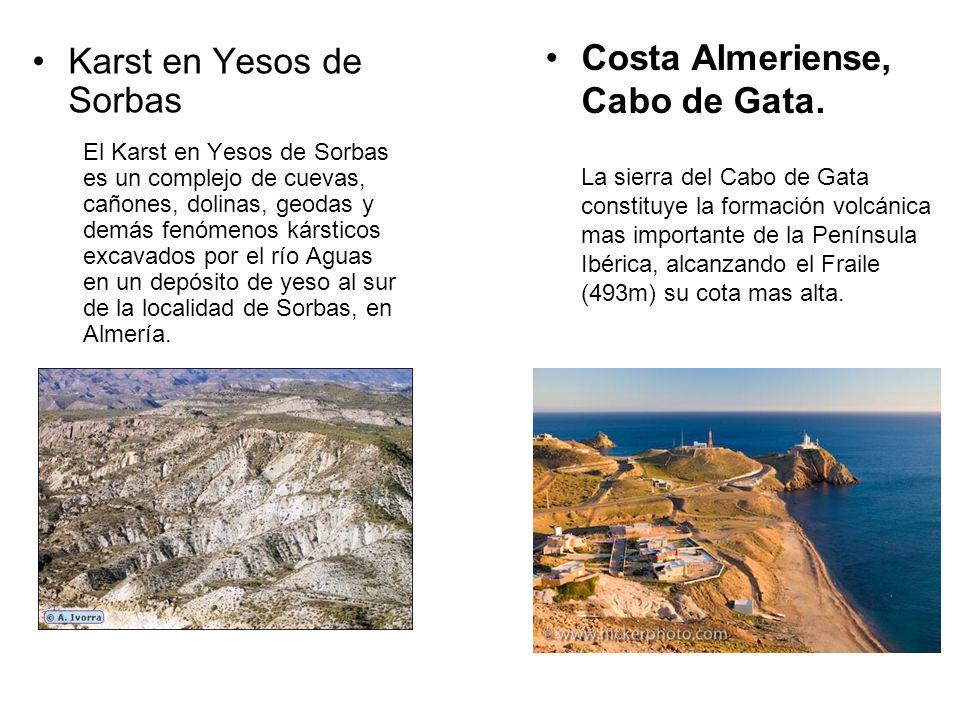 Karst en Yesos de Sorbas El Karst en Yesos de Sorbas es un complejo de cuevas, cañones, dolinas, geodas y demás fenómenos kársticos excavados por el río Aguas en un depósito de yeso al sur de la localidad de Sorbas, en Almería.