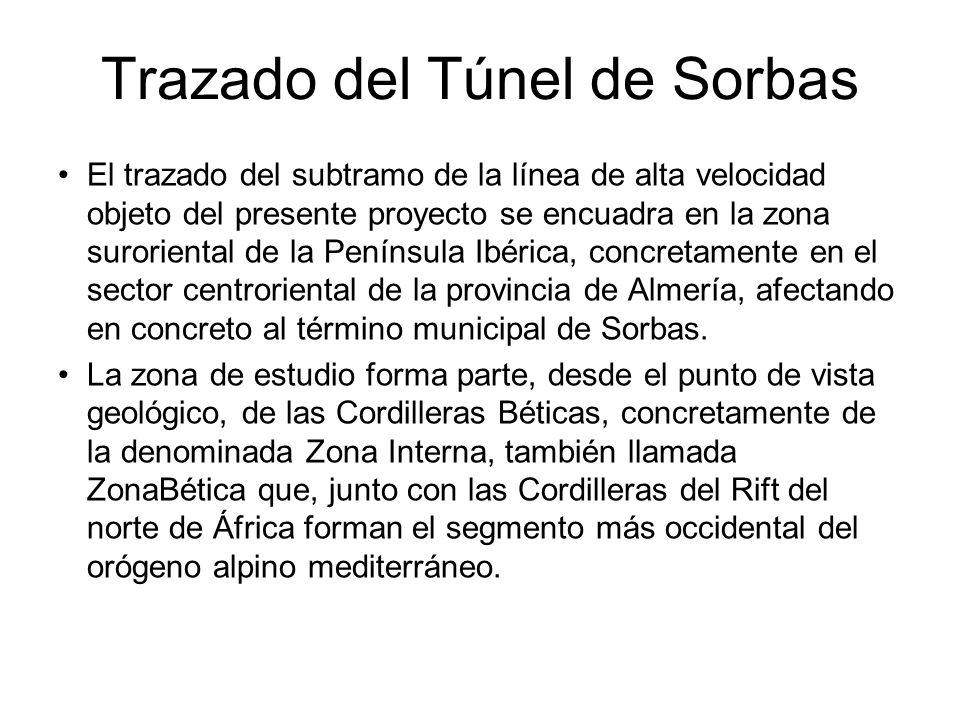 Trazado del Túnel de Sorbas El trazado del subtramo de la línea de alta velocidad objeto del presente proyecto se encuadra en la zona suroriental de la Península Ibérica, concretamente en el sector centroriental de la provincia de Almería, afectando en concreto al término municipal de Sorbas.