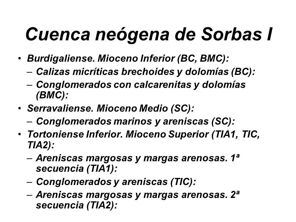 Cuenca neógena de Sorbas I Burdigaliense. Mioceno Inferior (BC, BMC): –Calizas micríticas brechoides y dolomías (BC): –Conglomerados con calcarenitas