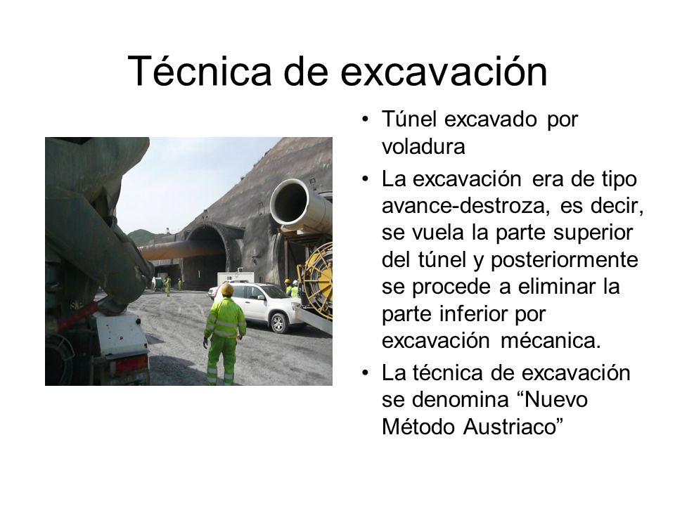 Técnica de excavación Túnel excavado por voladura La excavación era de tipo avance-destroza, es decir, se vuela la parte superior del túnel y posteriormente se procede a eliminar la parte inferior por excavación mécanica.