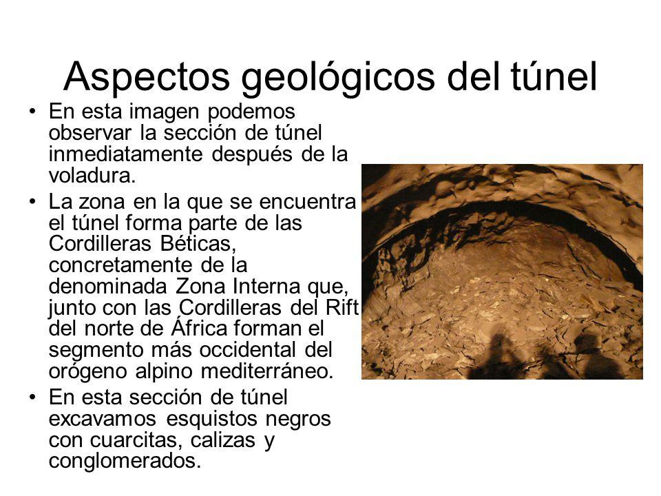 Aspectos geológicos del túnel En esta imagen podemos observar la sección de túnel inmediatamente después de la voladura. La zona en la que se encuentr