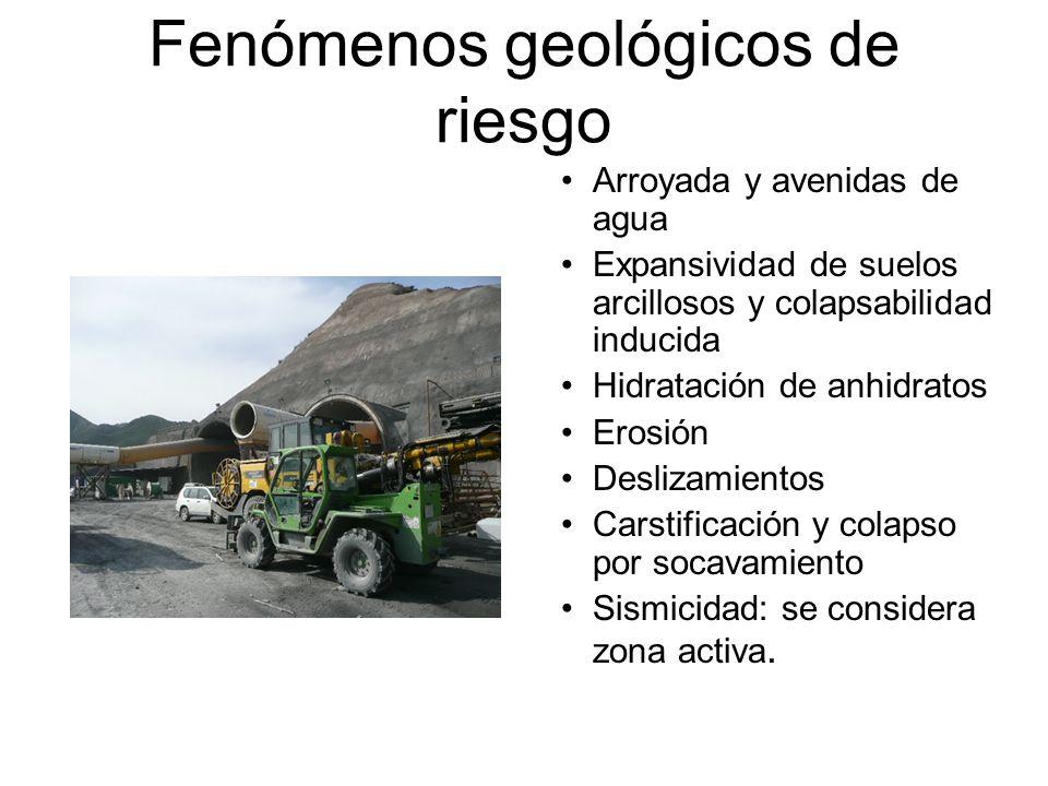 Fenómenos geológicos de riesgo Arroyada y avenidas de agua Expansividad de suelos arcillosos y colapsabilidad inducida Hidratación de anhidratos Erosi