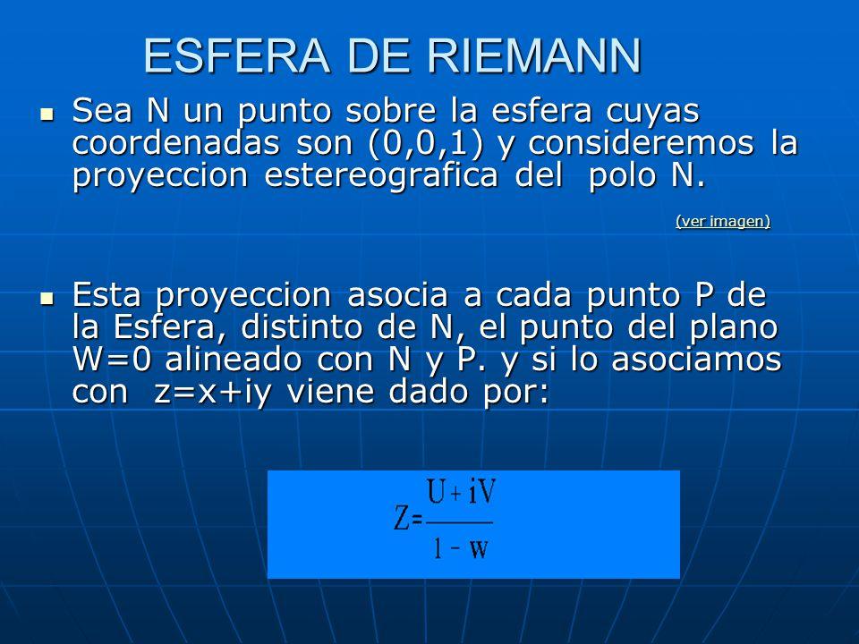Sin embargo el plano complejo ampliado admite una representacion geometrico por medio de una esfera, la llamada esfera de Riemann esfera de Riemannesfera de Riemann