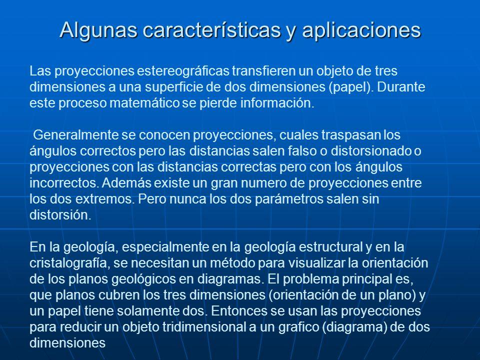 Algunas características y aplicaciones Las proyecciones estereográficas transfieren un objeto de tres dimensiones a una superficie de dos dimensiones (papel).
