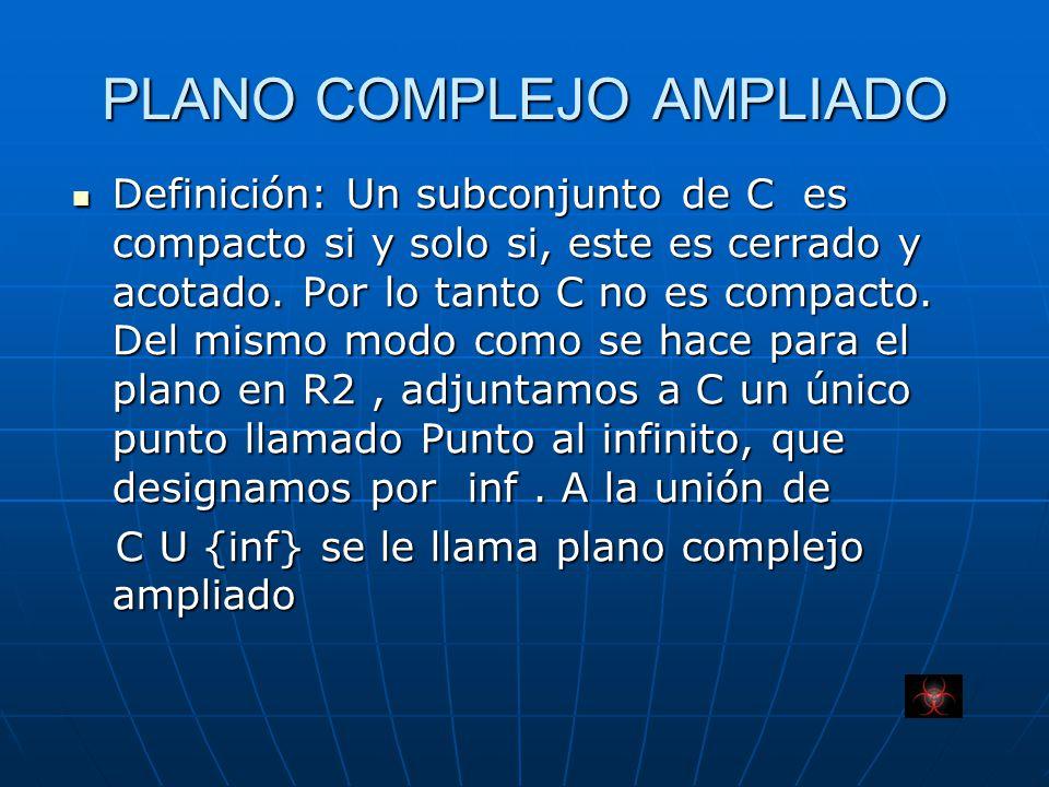 PLANO COMPLEJO AMPLIADO Definición: Un subconjunto de C es compacto si y solo si, este es cerrado y acotado.