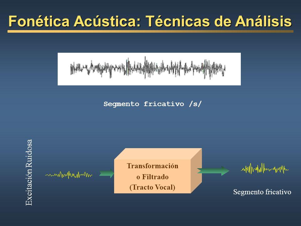 Transformación o Filtrado (Tracto Vocal) Excitación Ruidosa Segmento fricativo Segmento fricativo /s/ Fonética Acústica: Técnicas de Análisis