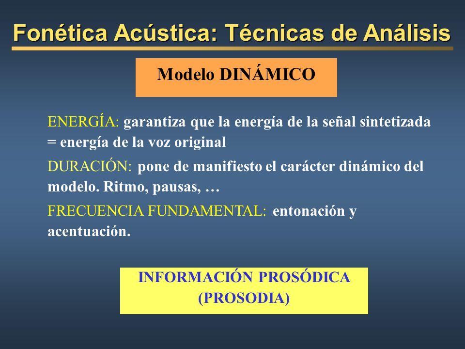 Modelo DINÁMICO ENERGÍA: garantiza que la energía de la señal sintetizada = energía de la voz original DURACIÓN: pone de manifiesto el carácter dinámi