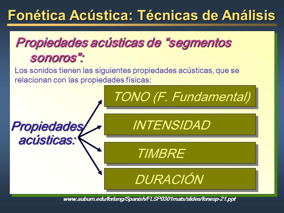 Fonética Acústica: Técnicas de Análisis Propiedades acústicas de segmentos sonoros: Propiedades acústicas: TONO (F. Fundamental) Los sonidos tienen la