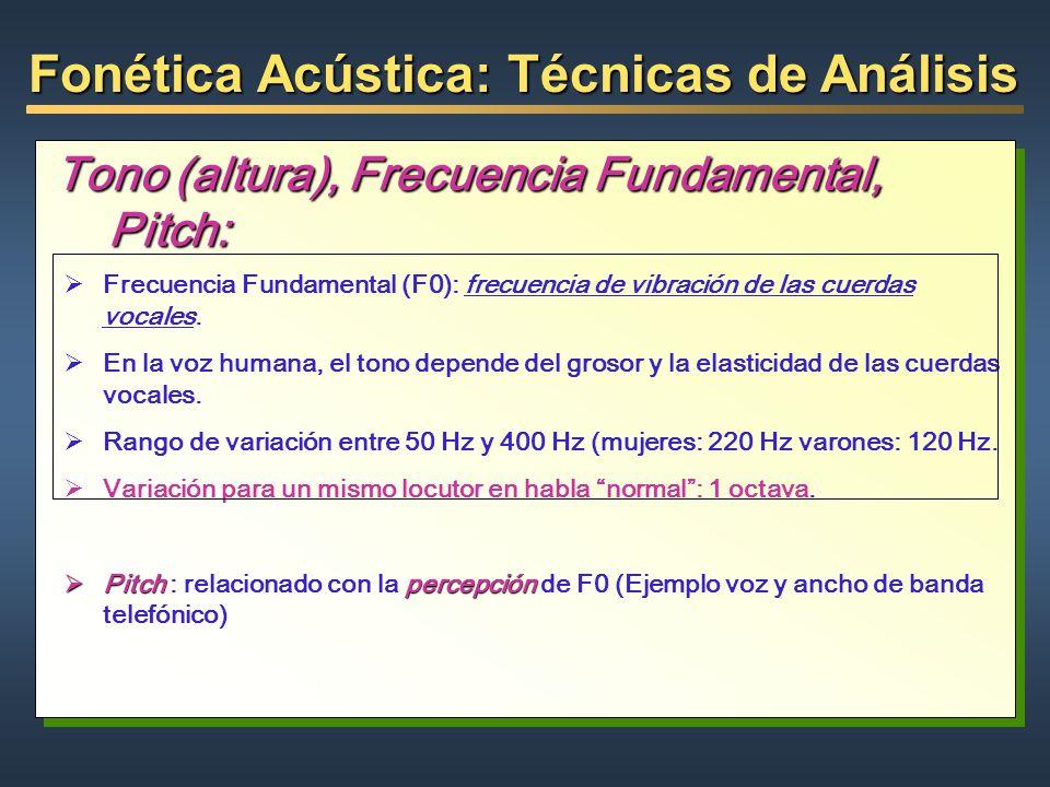 Fonética Acústica: Técnicas de Análisis Tono (altura), Frecuencia Fundamental, Pitch: Frecuencia Fundamental (F0): frecuencia de vibración de las cuer