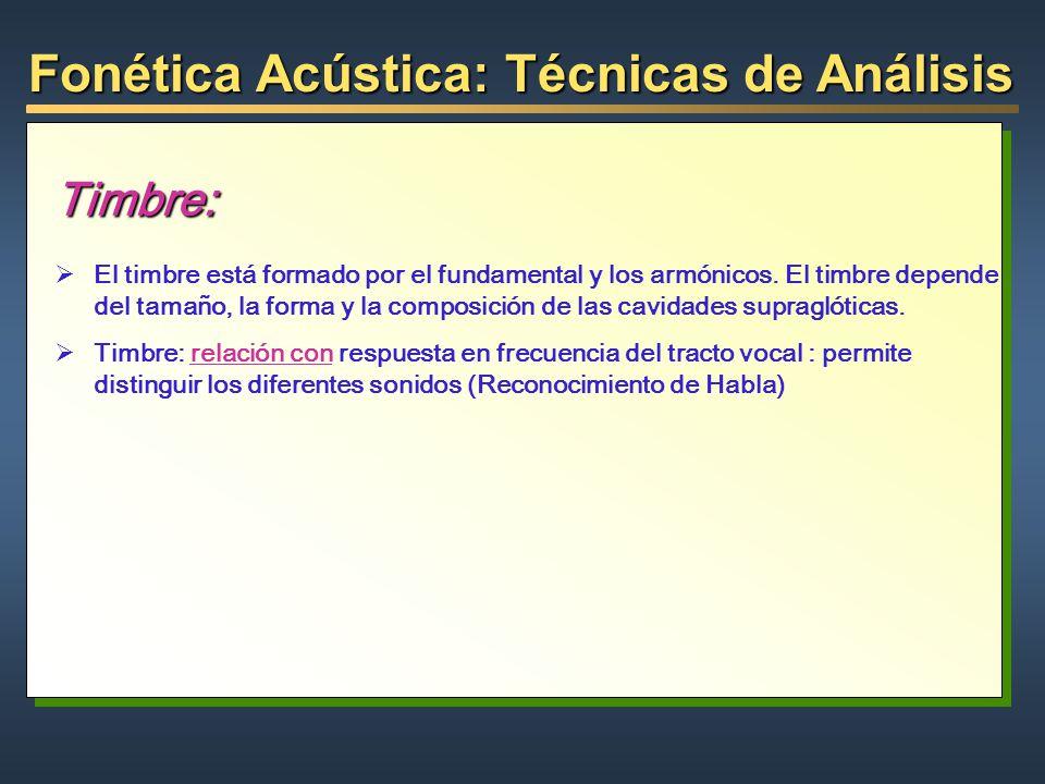 Fonética Acústica: Técnicas de Análisis Timbre: El timbre está formado por el fundamental y los armónicos. El timbre depende del tamaño, la forma y la