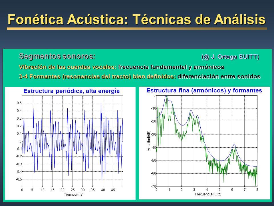 Segmentos sonoros: (@ J. Ortega EUITT) Vibración de las cuerdas vocales: frecuencia fundamental y armónicos 3-4 Formantes (resonancias del tracto) bie