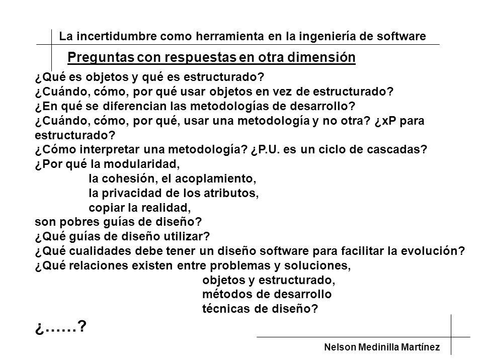 La incertidumbre como herramienta en la ingeniería de software Nelson Medinilla Martínez Preguntas con respuestas en otra dimensión ¿Qué es objetos y qué es estructurado.