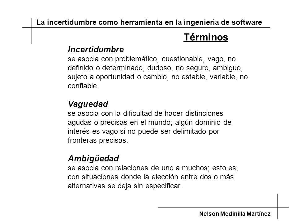 La incertidumbre como herramienta en la ingeniería de software Nelson Medinilla Martínez Incertidumbre se asocia con problemático, cuestionable, vago, no definido o determinado, dudoso, no seguro, ambiguo, sujeto a oportunidad o cambio, no estable, variable, no confiable.