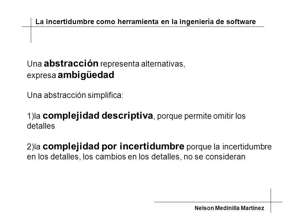 La incertidumbre como herramienta en la ingeniería de software Nelson Medinilla Martínez Una abstracción representa alternativas, expresa ambigüedad Una abstracción simplifica: 1)la complejidad descriptiva, porque permite omitir los detalles 2)la complejidad por incertidumbre porque la incertidumbre en los detalles, los cambios en los detalles, no se consideran