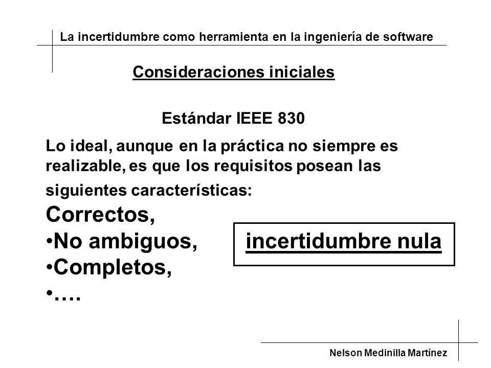 La incertidumbre como herramienta en la ingeniería de software Nelson Medinilla Martínez Divide y vencerás no funciona Condición: incertidumbre inevitable Se pierde la aditividad Consecuencias: