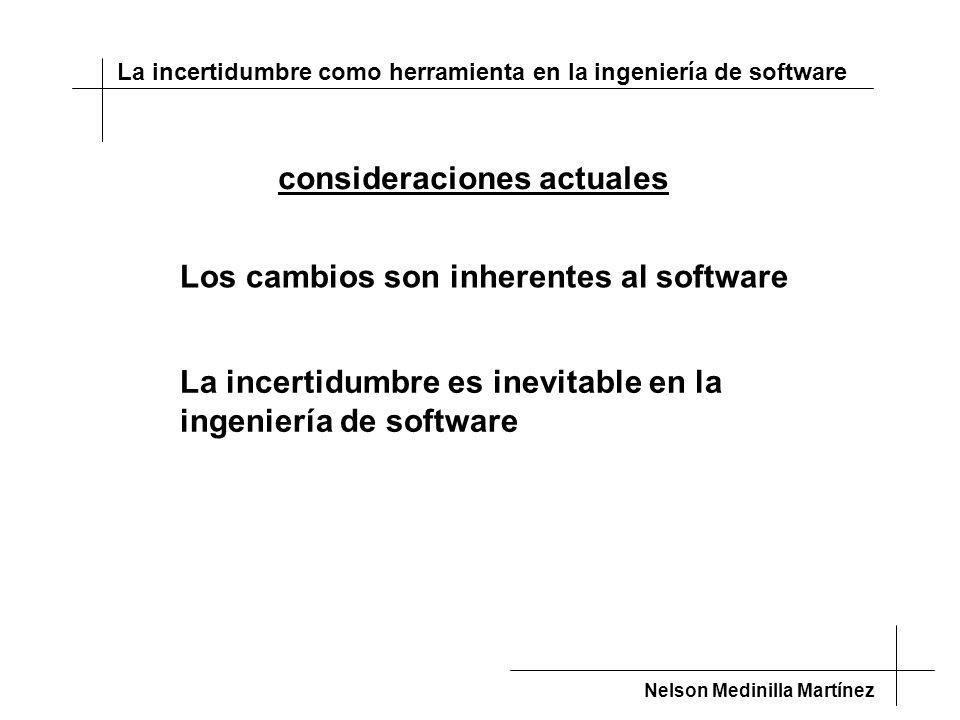 La incertidumbre como herramienta en la ingeniería de software Nelson Medinilla Martínez consideraciones actuales Los cambios son inherentes al software La incertidumbre es inevitable en la ingeniería de software