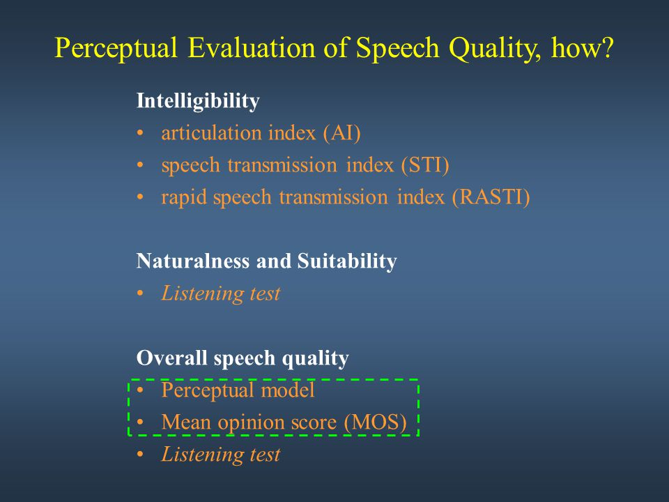 Intelligibility articulation index (AI) speech transmission index (STI) rapid speech transmission index (RASTI) Naturalness and Suitability Listening