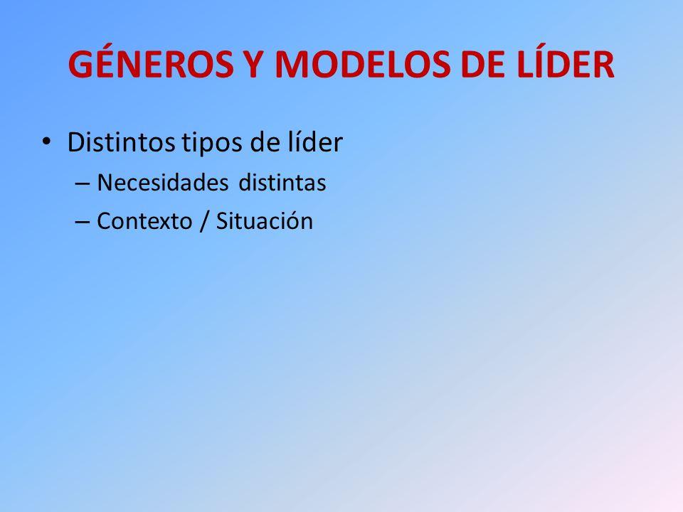 GÉNEROS Y MODELOS DE LÍDER Distintos tipos de líder – Necesidades distintas – Contexto / Situación