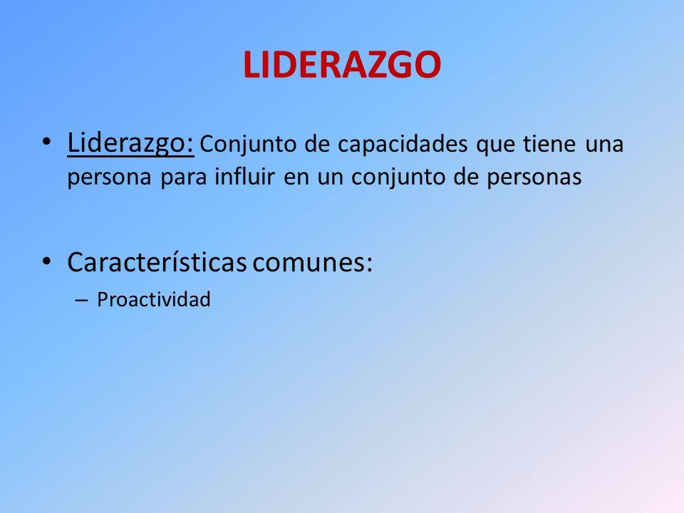 LIDERAZGO Liderazgo: Conjunto de capacidades que tiene una persona para influir en un conjunto de personas Características comunes: – Proactividad