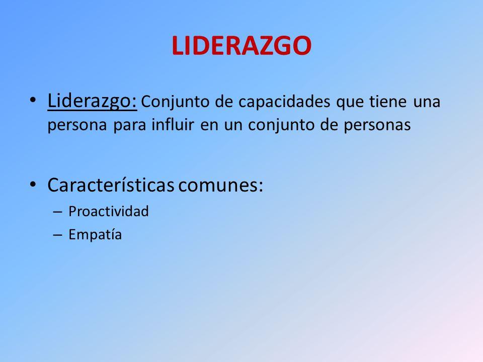 LIDERAZGO Liderazgo: Conjunto de capacidades que tiene una persona para influir en un conjunto de personas Características comunes: – Proactividad – E
