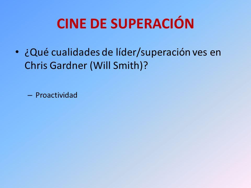 CINE DE SUPERACIÓN ¿Qué cualidades de líder/superación ves en Chris Gardner (Will Smith)? – Proactividad