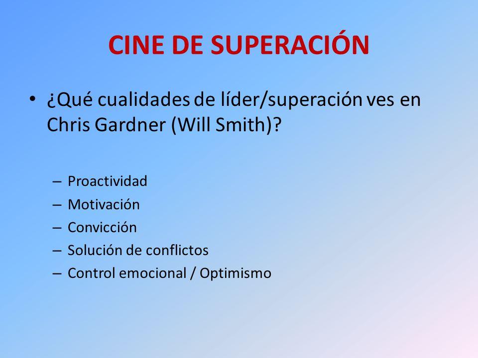 CINE DE SUPERACIÓN ¿Qué cualidades de líder/superación ves en Chris Gardner (Will Smith)? – Proactividad – Motivación – Convicción – Solución de confl