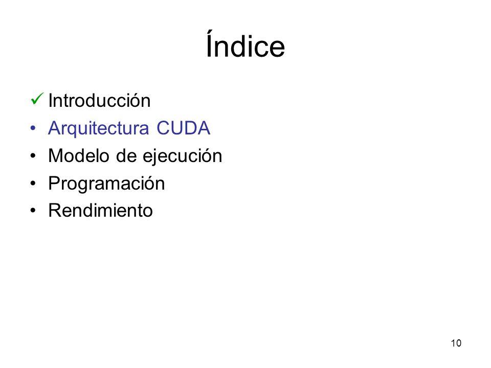 Índice Introducción Arquitectura CUDA Modelo de ejecución Programación Rendimiento 10