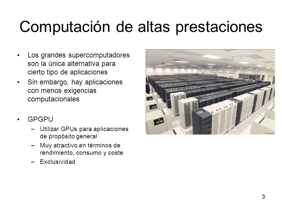 Computación de altas prestaciones Los grandes supercomputadores son la única alternativa para cierto tipo de aplicaciones Sin embargo, hay aplicacione