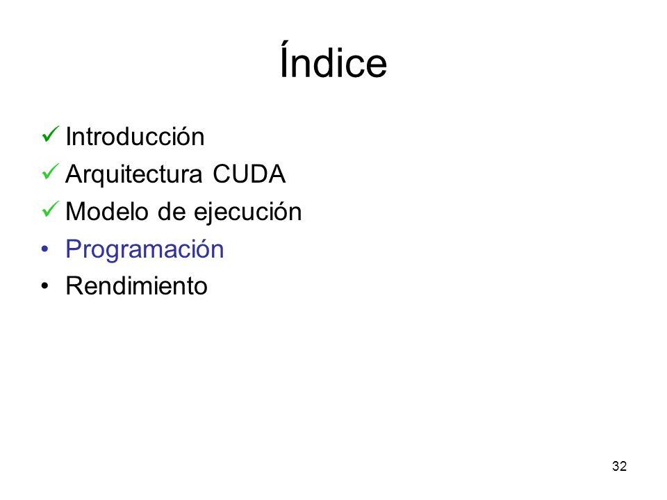 Índice Introducción Arquitectura CUDA Modelo de ejecución Programación Rendimiento 32