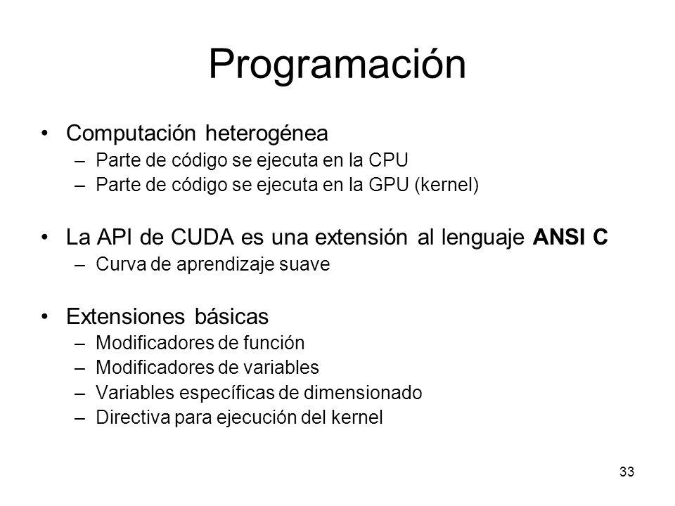 Programación Computación heterogénea –Parte de código se ejecuta en la CPU –Parte de código se ejecuta en la GPU (kernel) La API de CUDA es una extens