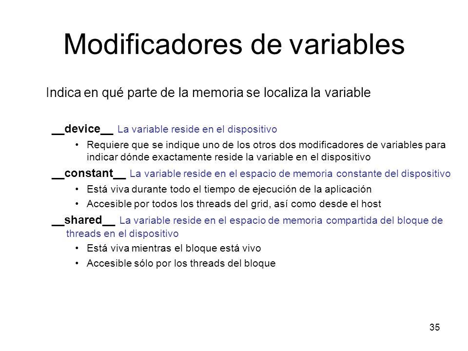 Modificadores de variables Indica en qué parte de la memoria se localiza la variable __device__ La variable reside en el dispositivo Requiere que se i
