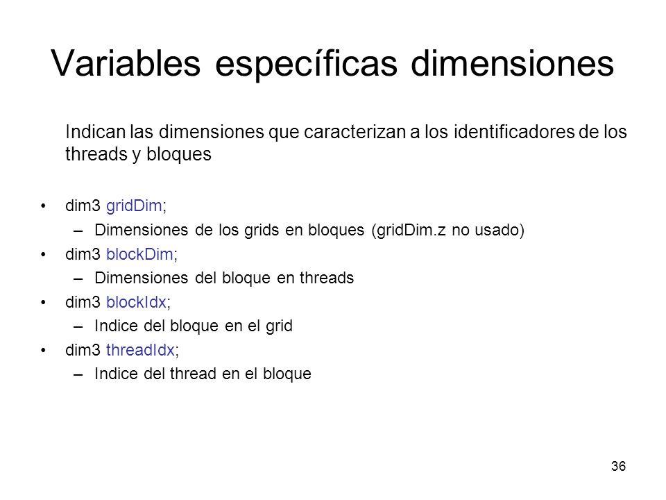 Variables específicas dimensiones Indican las dimensiones que caracterizan a los identificadores de los threads y bloques dim3 gridDim; –Dimensiones d