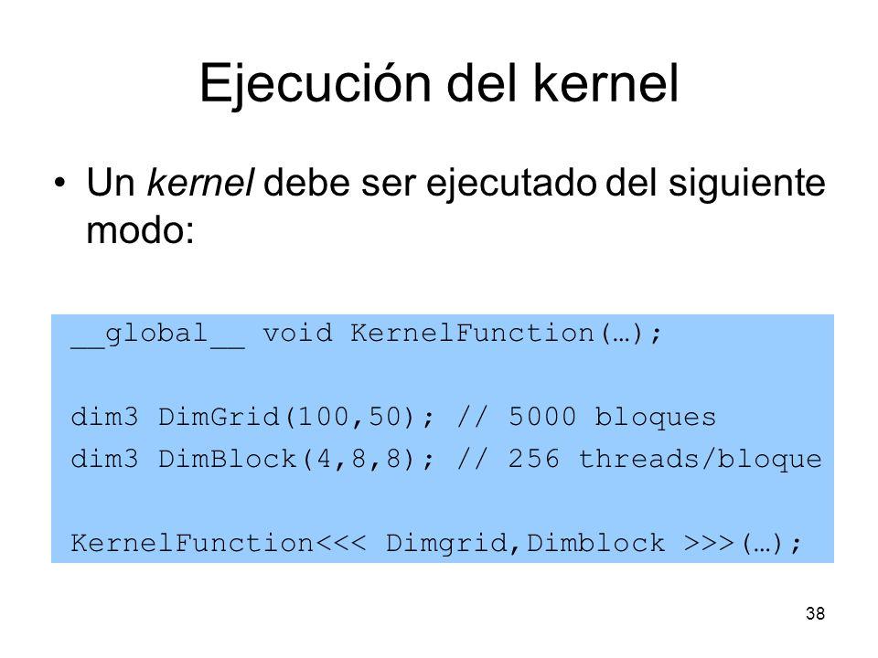 Ejecución del kernel Un kernel debe ser ejecutado del siguiente modo: __global__ void KernelFunction(…); dim3 DimGrid(100,50); // 5000 bloques dim3 Di