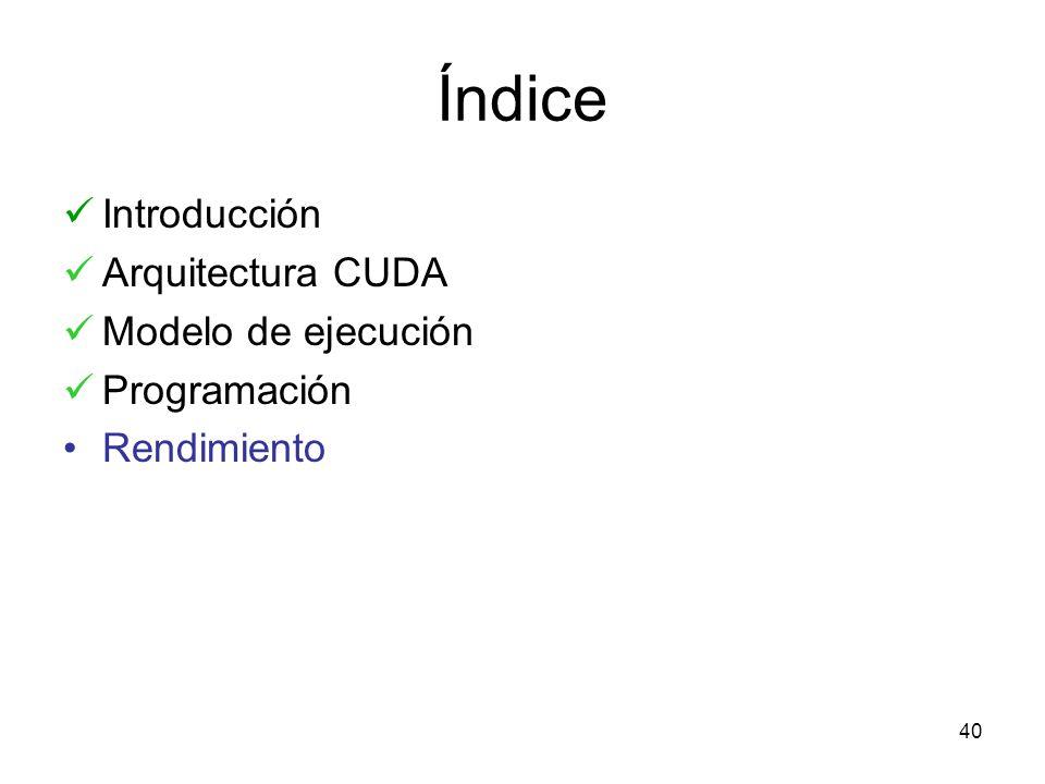 Índice Introducción Arquitectura CUDA Modelo de ejecución Programación Rendimiento 40