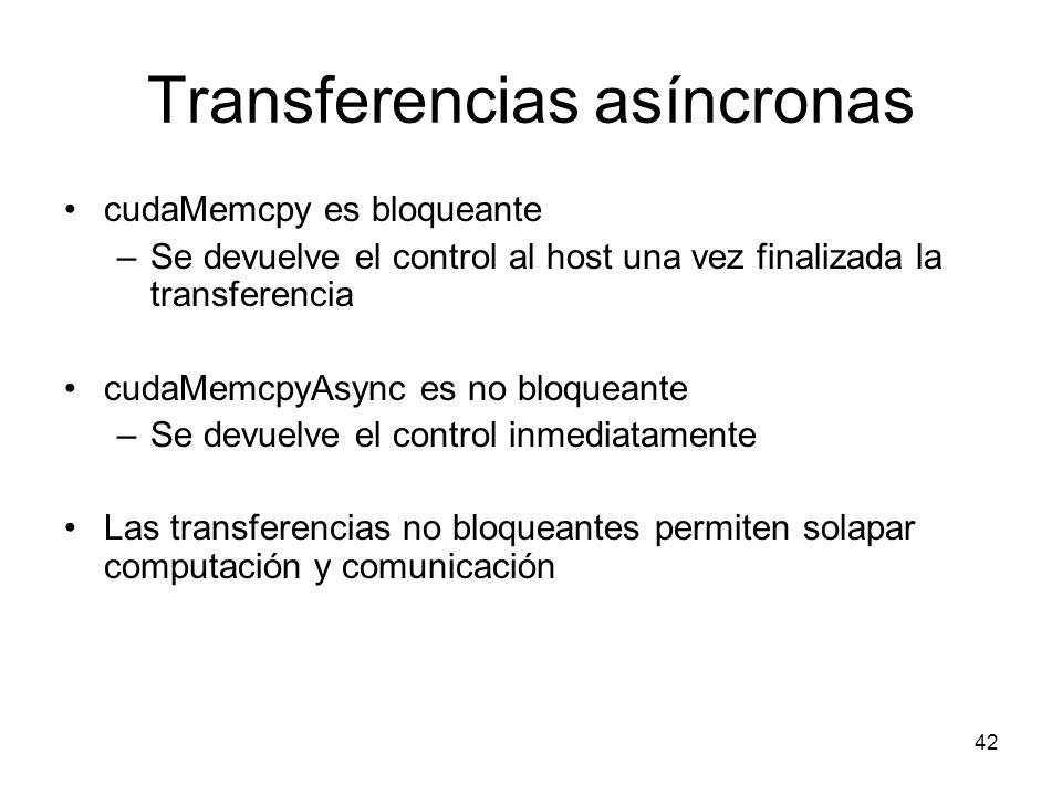 Transferencias asíncronas cudaMemcpy es bloqueante –Se devuelve el control al host una vez finalizada la transferencia cudaMemcpyAsync es no bloqueant