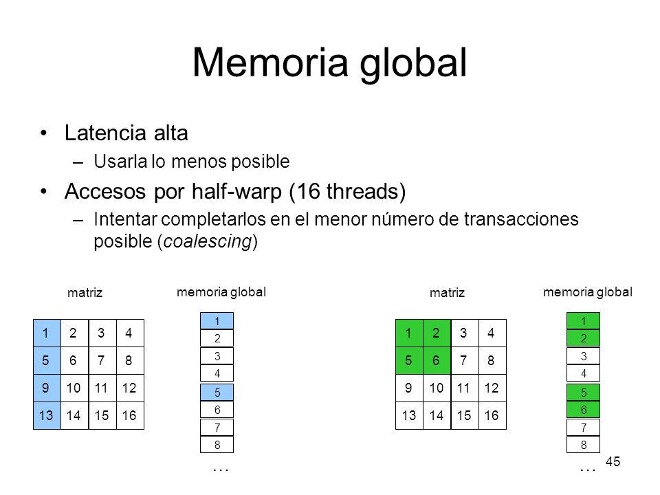 Memoria global Latencia alta –Usarla lo menos posible Accesos por half-warp (16 threads) –Intentar completarlos en el menor número de transacciones po
