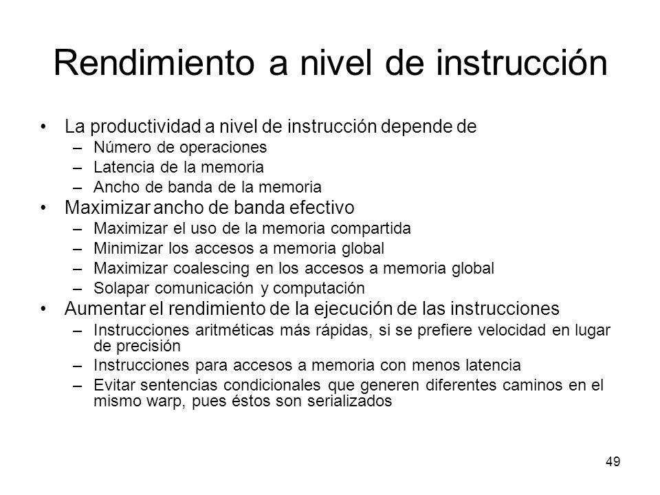 Rendimiento a nivel de instrucción La productividad a nivel de instrucción depende de –Número de operaciones –Latencia de la memoria –Ancho de banda d