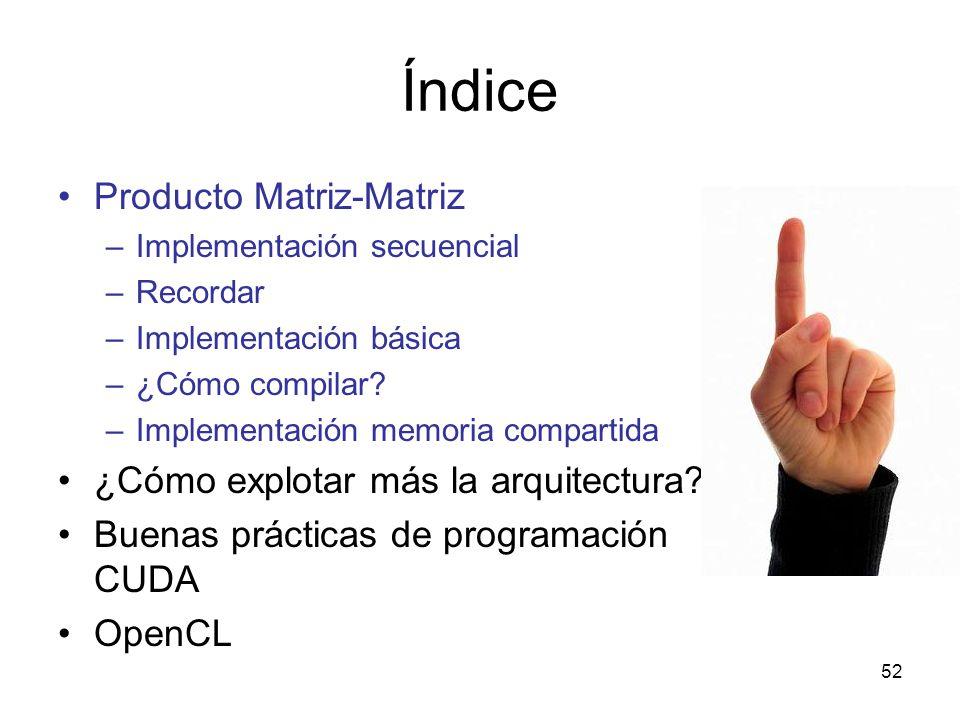 Índice Producto Matriz-Matriz –Implementación secuencial –Recordar –Implementación básica –¿Cómo compilar? –Implementación memoria compartida ¿Cómo ex