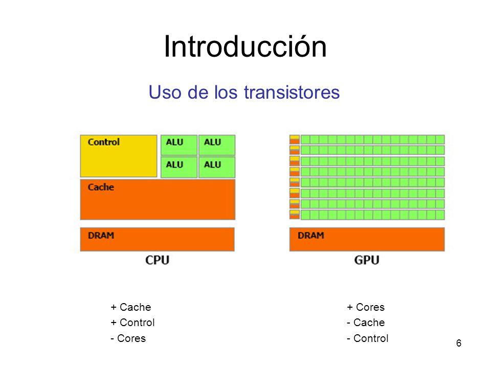 Introducción Uso de los transistores + Cache + Control - Cores + Cores - Cache - Control 6