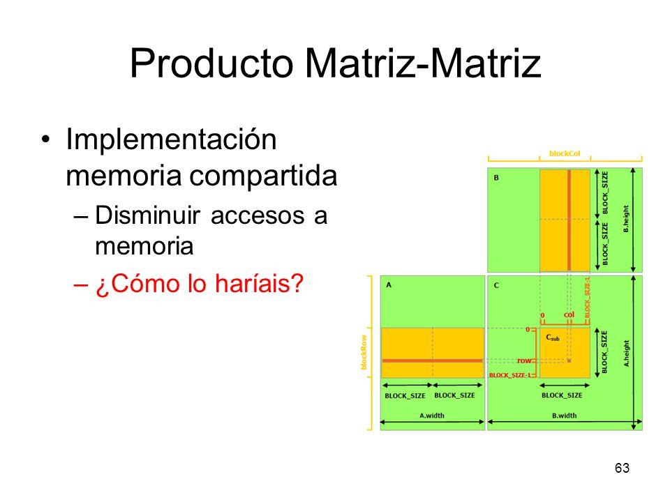Producto Matriz-Matriz Implementación memoria compartida –Disminuir accesos a memoria –¿Cómo lo haríais? 63