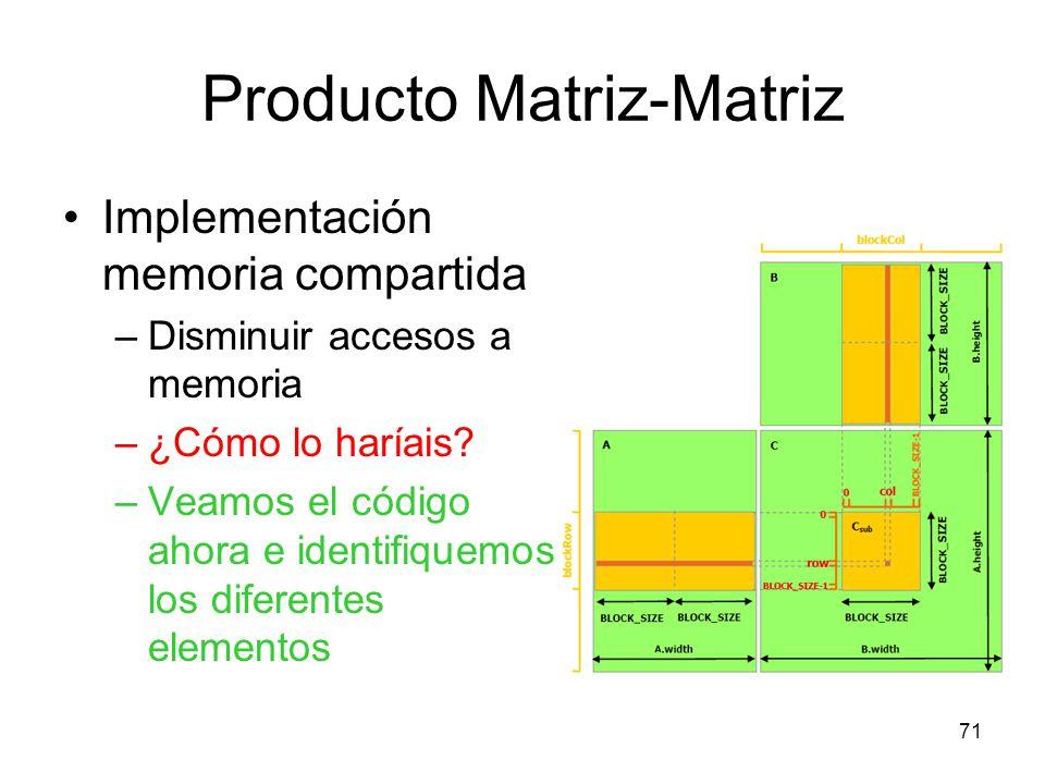 Producto Matriz-Matriz Implementación memoria compartida –Disminuir accesos a memoria –¿Cómo lo haríais? –Veamos el código ahora e identifiquemos los