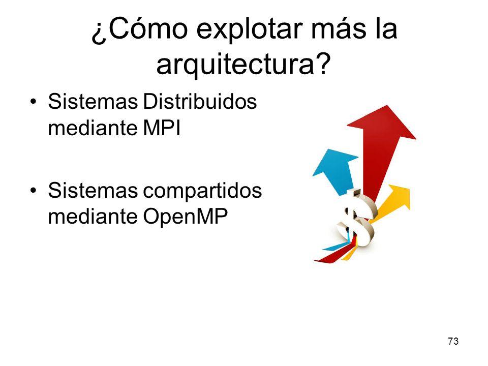 ¿Cómo explotar más la arquitectura? Sistemas Distribuidos mediante MPI Sistemas compartidos mediante OpenMP 73