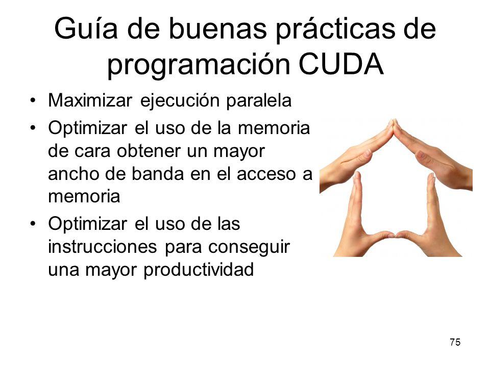 Guía de buenas prácticas de programación CUDA Maximizar ejecución paralela Optimizar el uso de la memoria de cara obtener un mayor ancho de banda en e