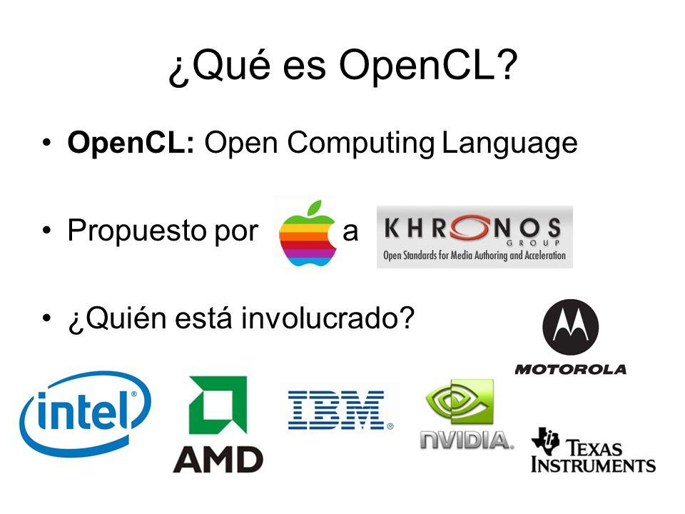 ¿Qué es OpenCL? OpenCL: Open Computing Language Propuesto por a ¿Quién está involucrado?
