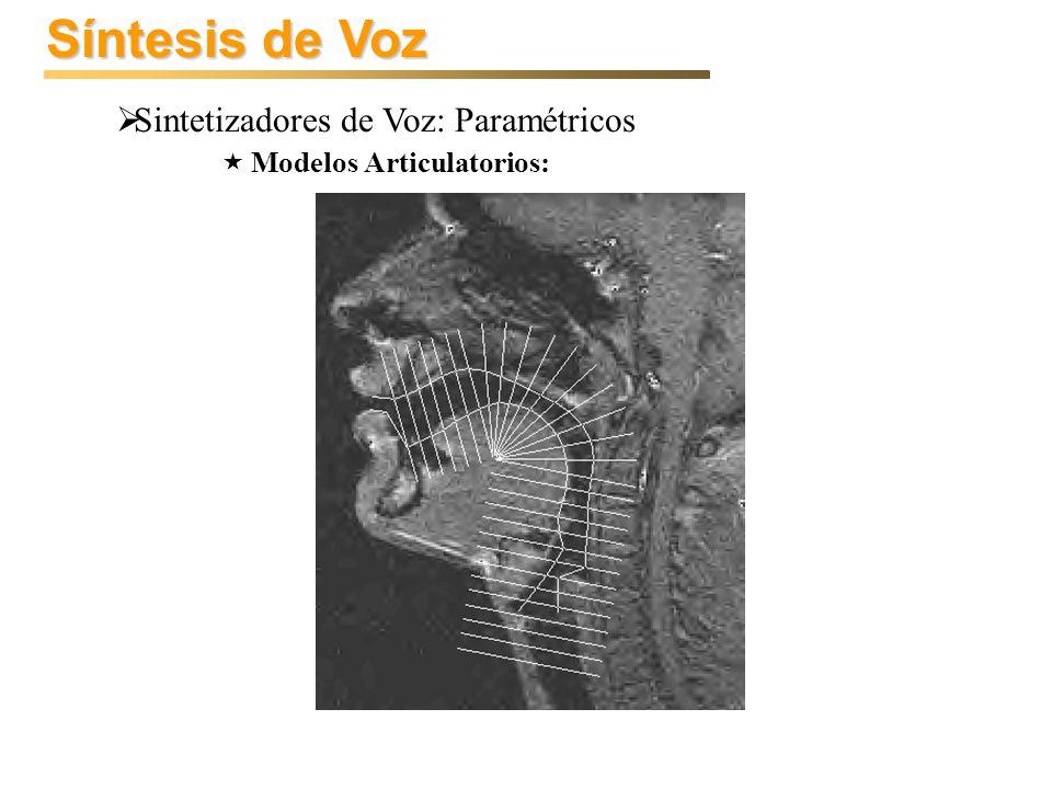 Síntesis de Voz Sintetizadores de Voz: Paramétricos Modelos Articulatorios: