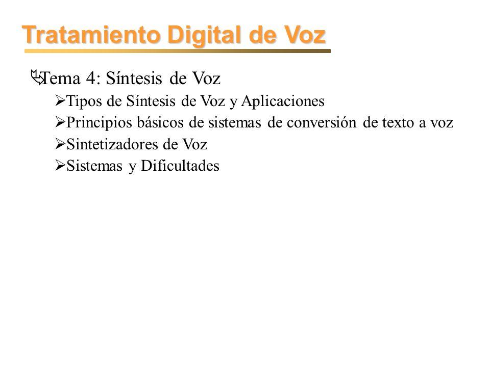 Tratamiento Digital de Voz Tema 4: Síntesis de Voz Tipos de Síntesis de Voz y Aplicaciones Principios básicos de sistemas de conversión de texto a voz