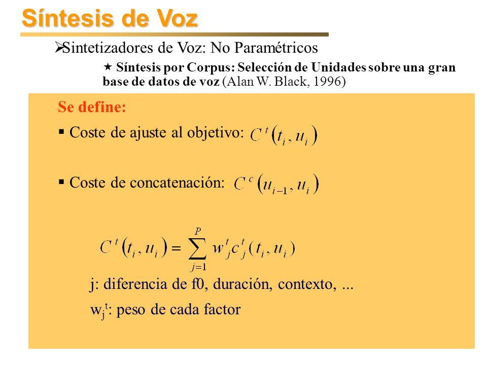 Síntesis de Voz Sintetizadores de Voz: No Paramétricos Síntesis por Corpus: Selección de Unidades sobre una gran base de datos de voz (Alan W. Black,