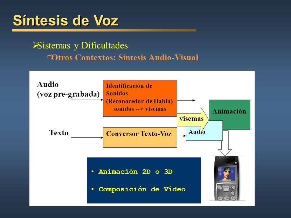 Síntesis de Voz Sistemas y Dificultades Otros Contextos: Síntesis Audio-Visual Identificación de Sonidos (Reconocedor de Habla) sonidos --> visemas Au